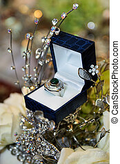 Wedding ring in a box case with decoration