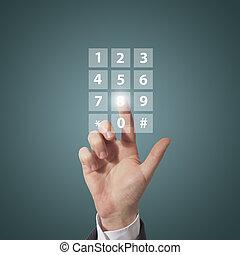 componer, teléfono, número