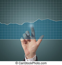 graph touch - business man touching graph on screen, blu...