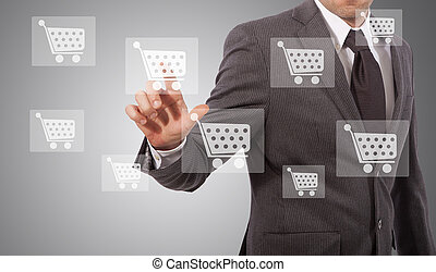 ecommerce icon touh - business man touching ecommerce icon...