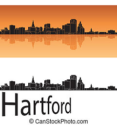 Hartford skyline in orange background in editable vector...