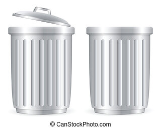 trash cans 2 - Trash can set on white background. Vector...