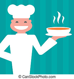chef - smiling chef to serve a hot mea