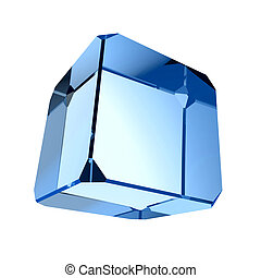 Blue prism  - Blue cube prism - isolated on white background