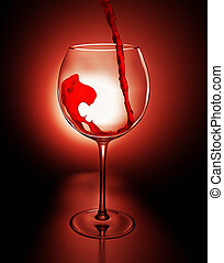 Red wine and steel glass - 3d illustration
