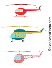 Helicopter. - Retro helicopters set.