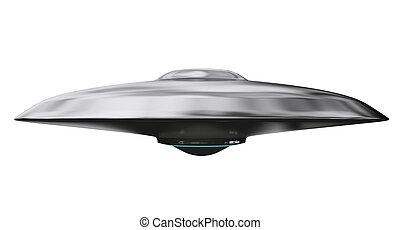 UFO. Flying saucer on white background. 3d render