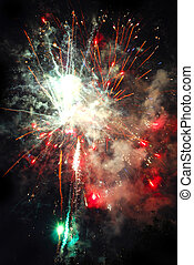 Colorful fireworks on black background