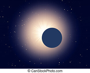 Sun eclipse on a starry background - illustration