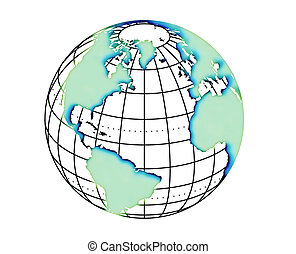 Globe with continents - isolated on white background