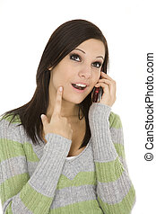 Cell Phone - Beautiful Caucasian female talking on cell...