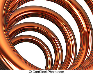 Copper helix on white background