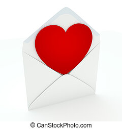 Love Letter - A red heart in unsealed envelope isolated on...