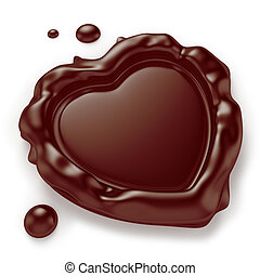 Heart-Shaped Chocolate Seal - Chocolate seal in the shape of...