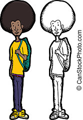 Skinny Teen with Backpack - Skinny teenage Black man with...