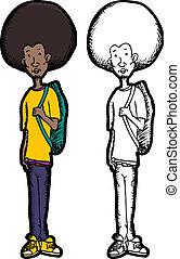Skinny Teen with Backpack - Skinny teenage Black man with...