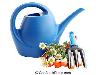 garden tools - Garden still life, watering can with flowers...