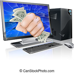 Computer with fist full of cash