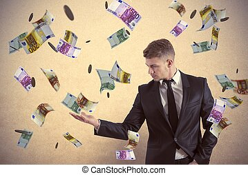 Earn money - Concept of a businessman that earns money