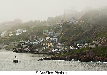 Looking back into St. John\'s, shrouded in Fog.