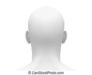 cabeça, costas, vista