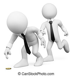 3D white people. Business trick - 3d white business person...