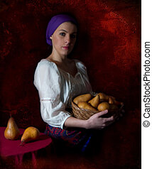 Peasant Girl Holding Pears - basket, fruit, pears, old,...