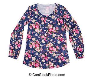 blusa,  floral, damas, impresión