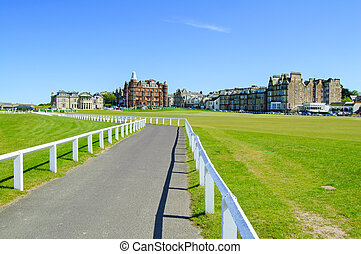 Golf St Andrews old course links, fairway and footpath on...