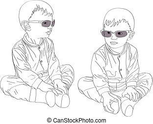 Small twins boys in sunglasses - Two small twins boys in...