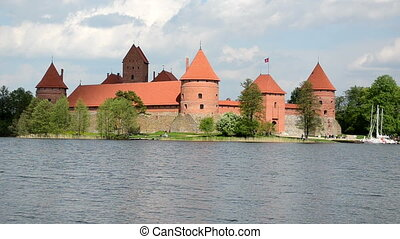 lake island castle - Ancient Trakai castle in island...
