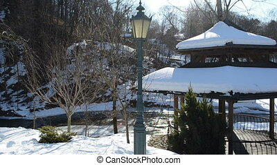 bower river winter snow - wooden bower roof covered with...