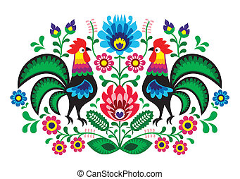 Polish floral embroidery with cocks - Decorative traditional...