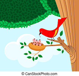bird feeding her children - illustration of a bird feeding...