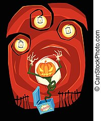 jack o lantern - scary jack o lantern jumping out from the...