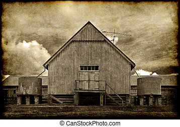 old barn building - great old grungy image of an old barn on...