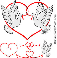 couple of pigeon with red ribbon forming a heart shape three...