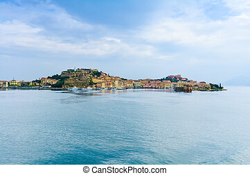 Elba island, Portoferraio village harbor and skyline from a...