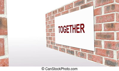 Animation of together everyone achieves more teamwork on red...
