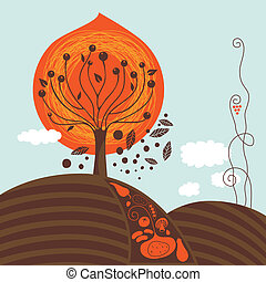 Fall Scene - Fall scene illustration with harvest and tree