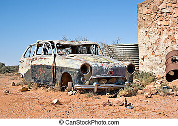 old car in the desert - great image of an old car in the...