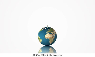 Earth globe spinning with growing tree on white background