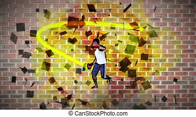 Montage of man practicing kickboxing on wall background
