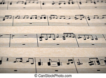 music notes - sheet music notes on old brown paper
