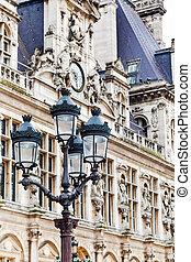 Hotel de Ville City Hall in Paris - lantern and Hotel de...