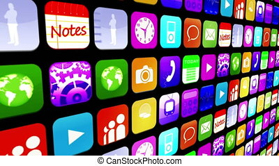 Mosaic wall of application icons - Mosaic wall of colourful...