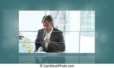 Animation of various screens showing people at work with...
