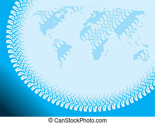 Tire tracked world background design in blue color
