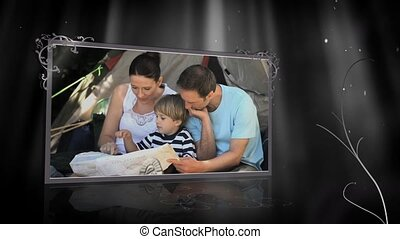 Animation with family camping site - Animation with happy...