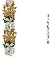 Christmas Border Gold Leaves - Christmas design gold leaves,...